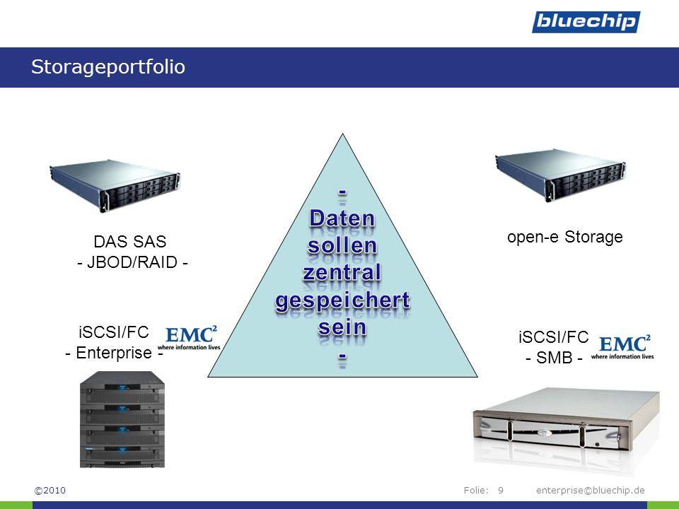 Folie: Storageportfolio enterprise©bluechip.de9 DAS SAS - JBOD/RAID - iSCSI/FC - SMB - iSCSI/FC - Enterprise - ©2010 open-e Storage