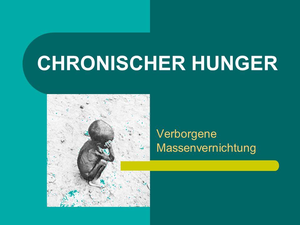 Aspekte des chronischen Hungers Ständige Unterernährung: Zu wenig Nahrung der Körper ist geschwächt und verspürt ein Hungergefühl Ausgeprägte Mangelernährung: Die Ernährung ist zu einseitig es folgen Mangelerscheinungen