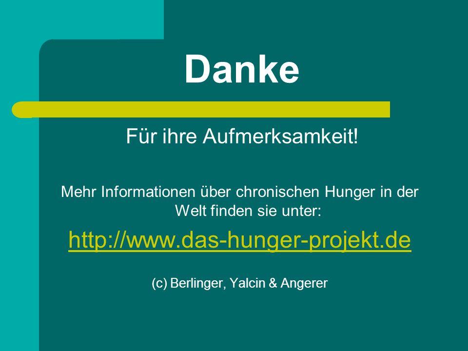 Danke Für ihre Aufmerksamkeit! Mehr Informationen über chronischen Hunger in der Welt finden sie unter: http://www.das-hunger-projekt.de (c) Berlinger