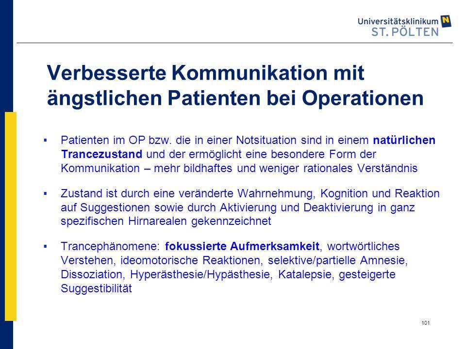 101 Verbesserte Kommunikation mit ängstlichen Patienten bei Operationen ▪Patienten im OP bzw. die in einer Notsituation sind in einem natürlichen Tran