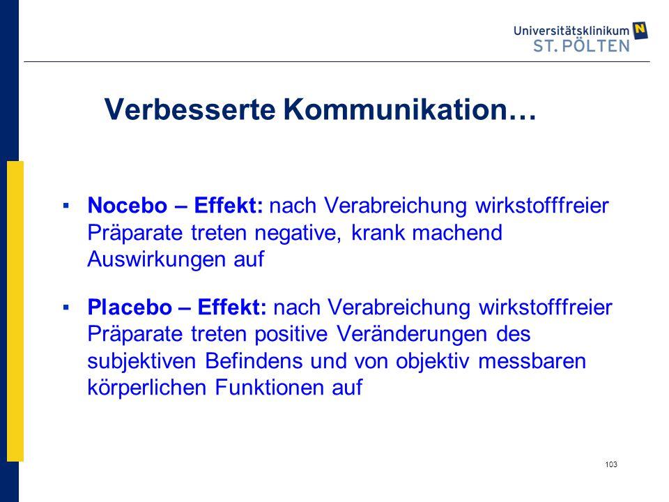 103 Verbesserte Kommunikation… ▪Nocebo – Effekt: nach Verabreichung wirkstofffreier Präparate treten negative, krank machend Auswirkungen auf ▪Placebo