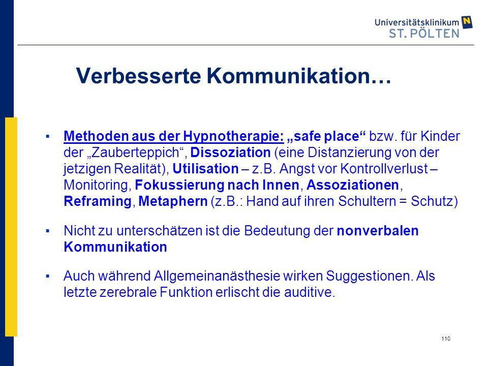 """110 Verbesserte Kommunikation… ▪Methoden aus der Hypnotherapie: """"safe place"""" bzw. für Kinder der """"Zauberteppich"""", Dissoziation (eine Distanzierung von"""