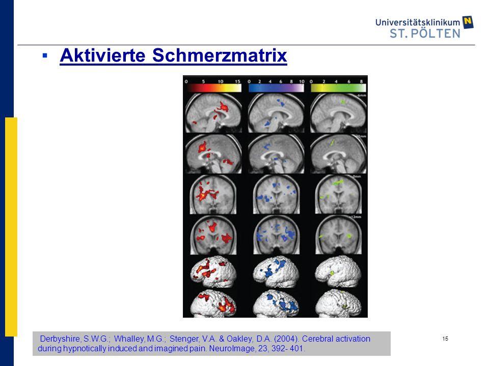 15 ▪Aktivierte Schmerzmatrix Derbyshire, S.W.G.; Whalley, M.G.; Stenger, V.A. & Oakley, D.A. (2004). Cerebral activation during hypnotically induced a