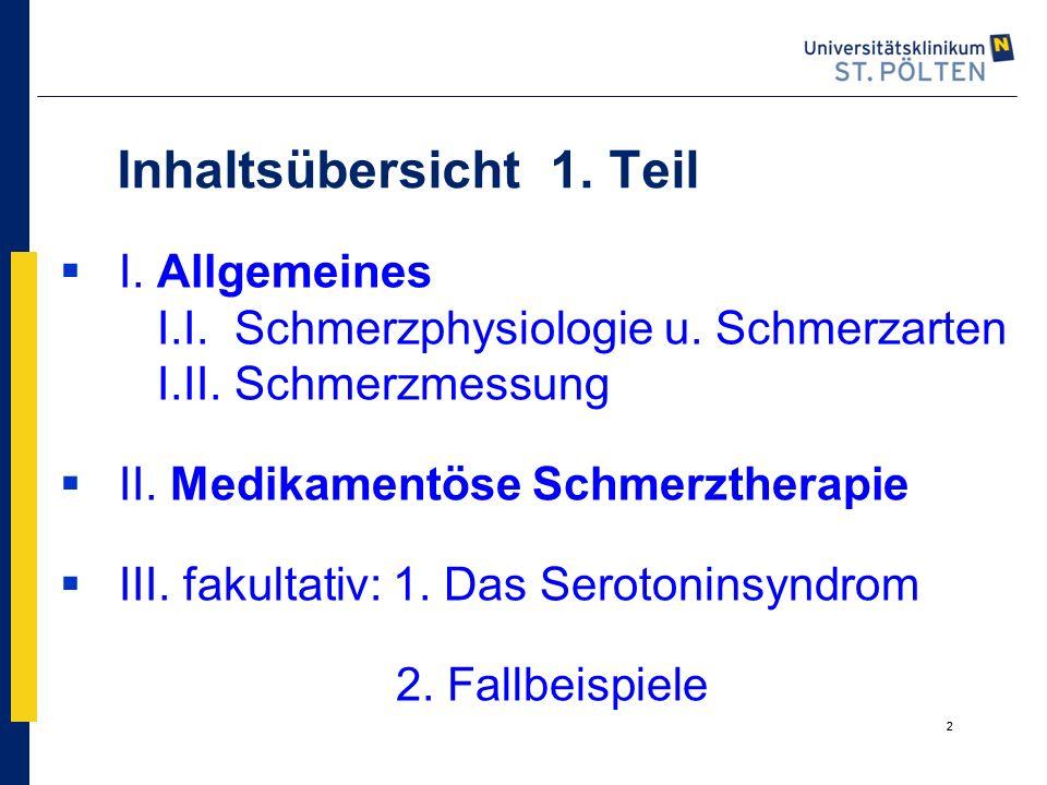 2 Inhaltsübersicht 1. Teil  I. Allgemeines I.I. Schmerzphysiologie u. Schmerzarten I.II. Schmerzmessung  II. Medikamentöse Schmerztherapie  III. fa