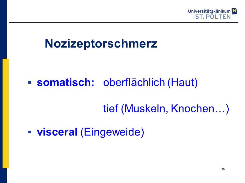 26 Nozizeptorschmerz ▪somatisch: oberflächlich (Haut) tief (Muskeln, Knochen…) ▪visceral (Eingeweide) 26