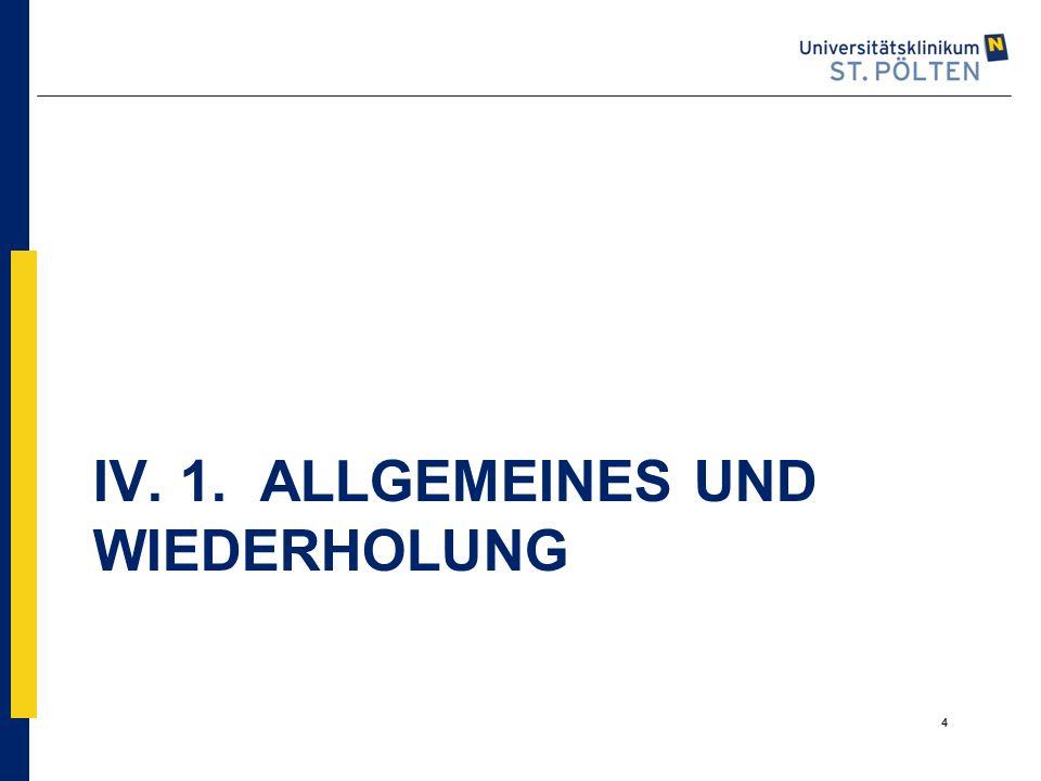 4 IV. 1. ALLGEMEINES UND WIEDERHOLUNG 4