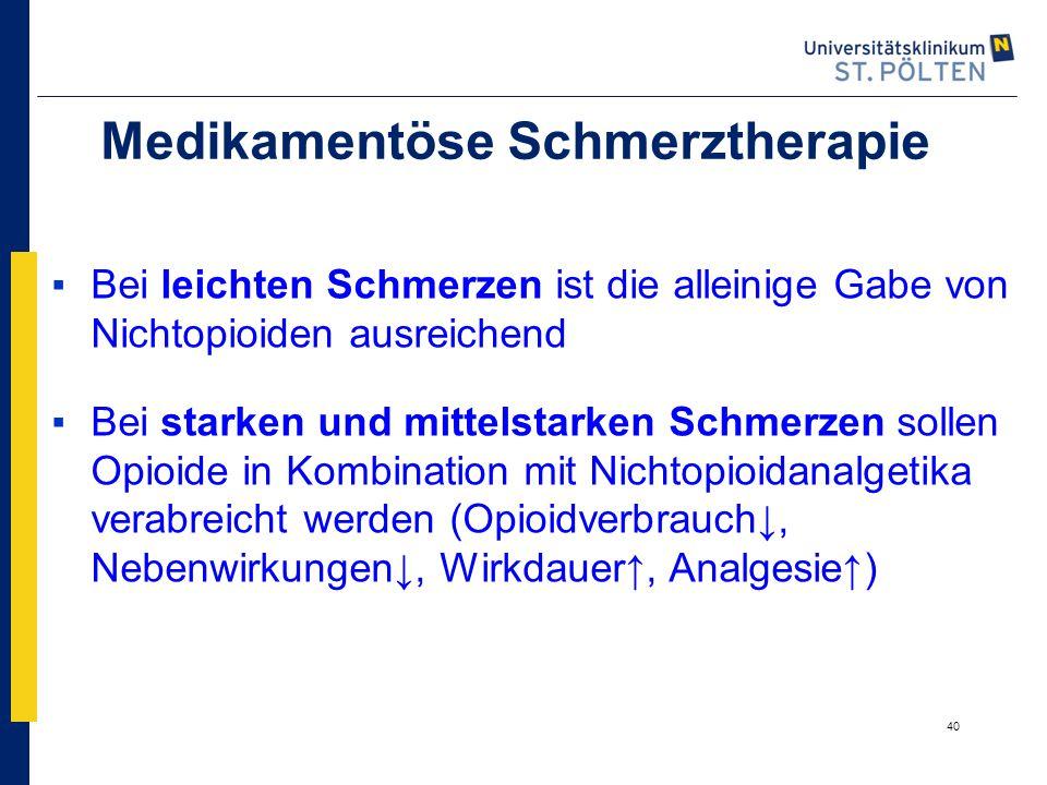 40 Medikamentöse Schmerztherapie ▪Bei leichten Schmerzen ist die alleinige Gabe von Nichtopioiden ausreichend ▪Bei starken und mittelstarken Schmerzen