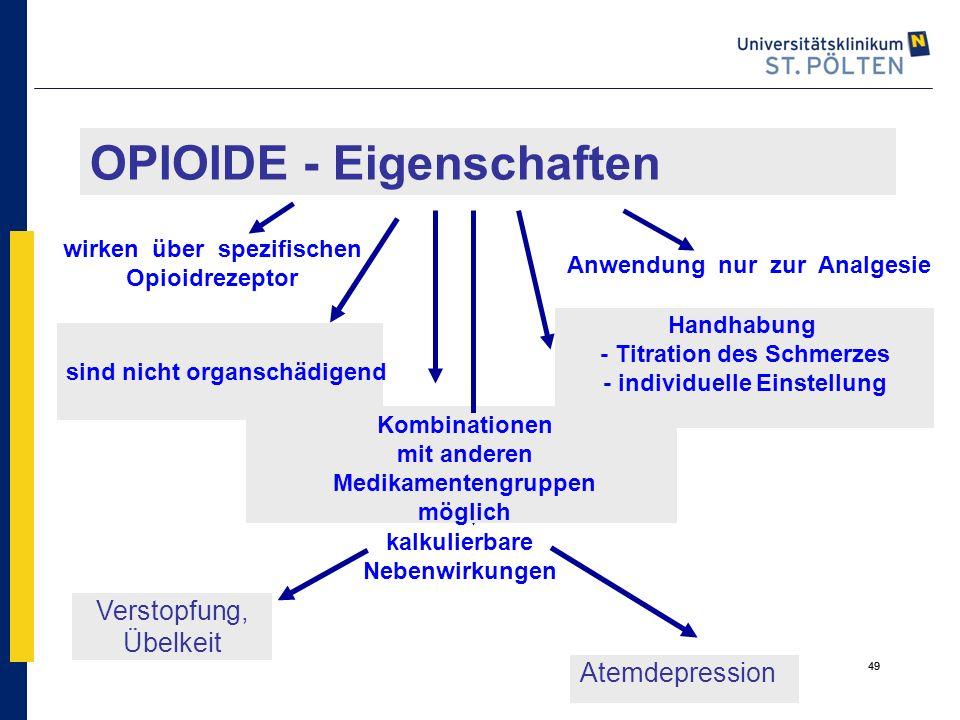 49 Verstopfung, Übelkeit OPIOIDE - Eigenschaften kalkulierbare Nebenwirkungen Handhabung - Titration des Schmerzes - individuelle Einstellung sind nic