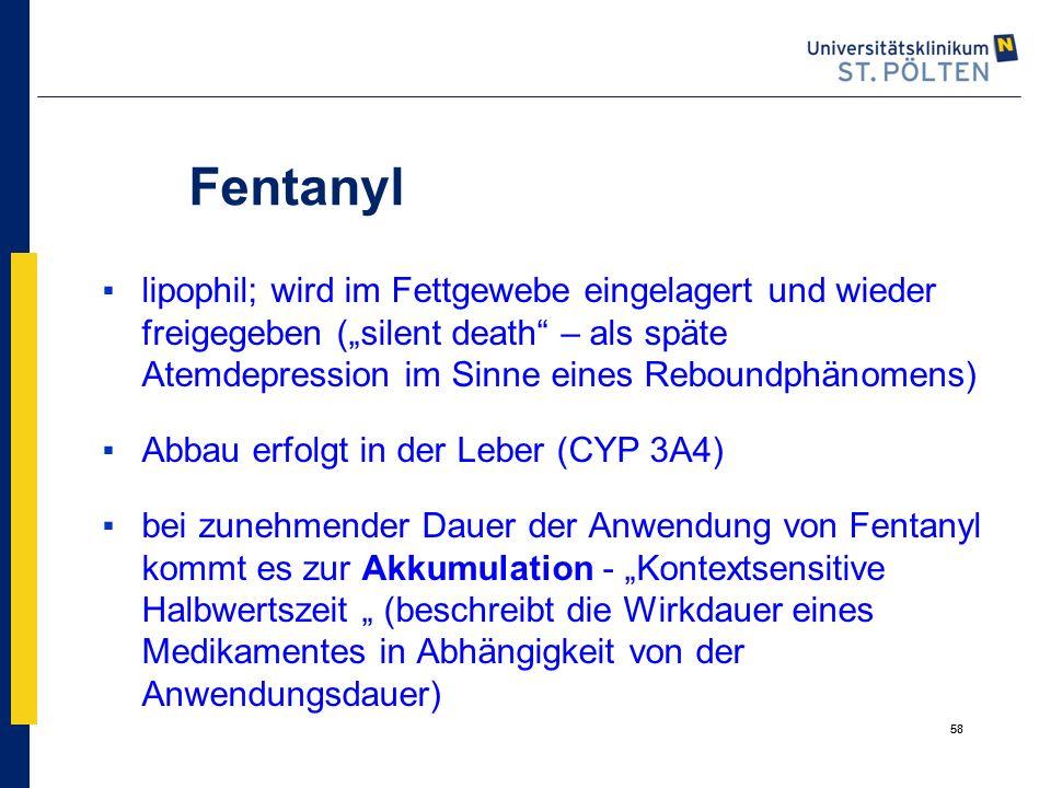 """58 Fentanyl ▪lipophil; wird im Fettgewebe eingelagert und wieder freigegeben (""""silent death"""" – als späte Atemdepression im Sinne eines Reboundphänomen"""