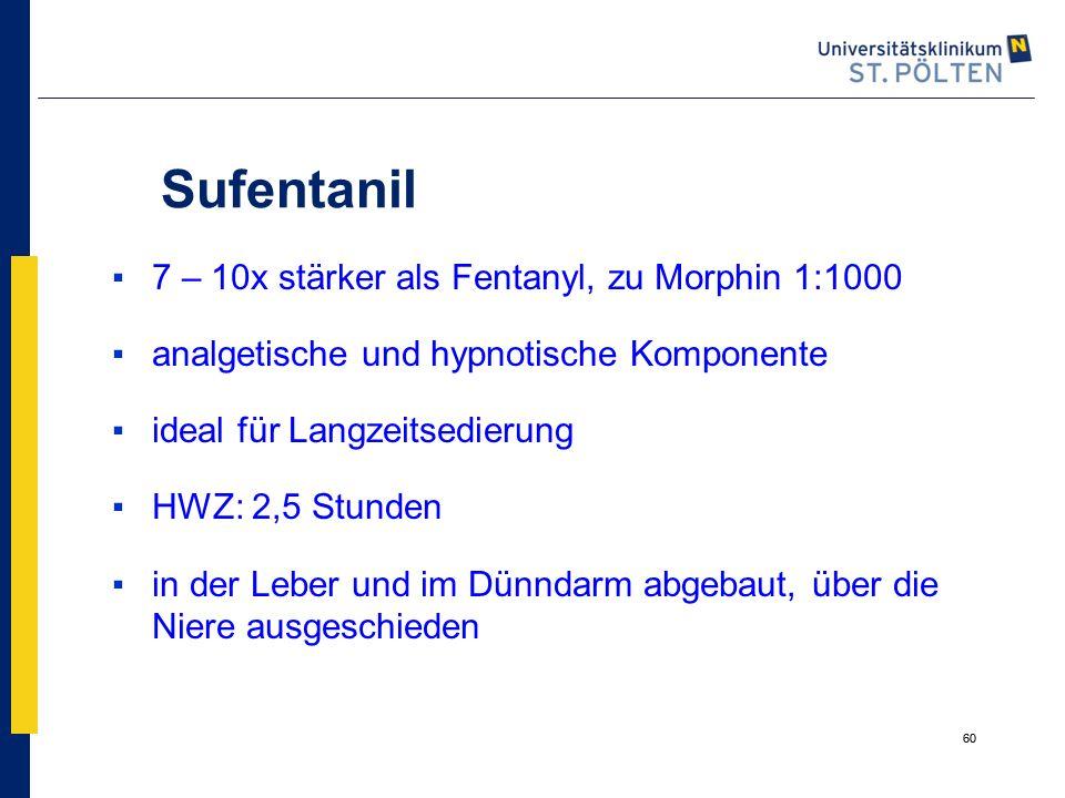 60 Sufentanil ▪7 – 10x stärker als Fentanyl, zu Morphin 1:1000 ▪analgetische und hypnotische Komponente ▪ideal für Langzeitsedierung ▪HWZ: 2,5 Stunden