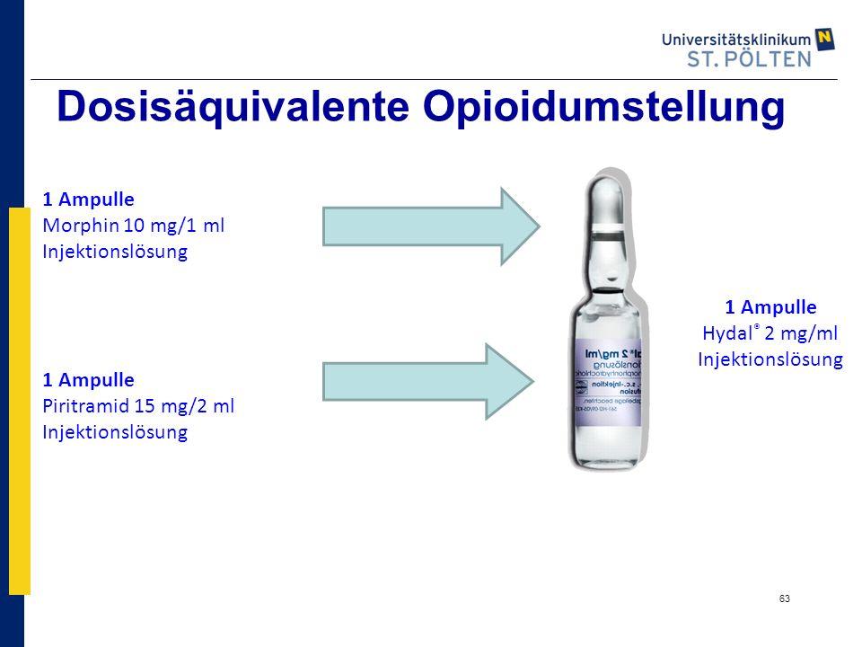 63 Dosisäquivalente Opioidumstellung 1 Ampulle Morphin 10 mg/1 ml Injektionslösung 1 Ampulle Piritramid 15 mg/2 ml Injektionslösung 1 Ampulle Hydal ®