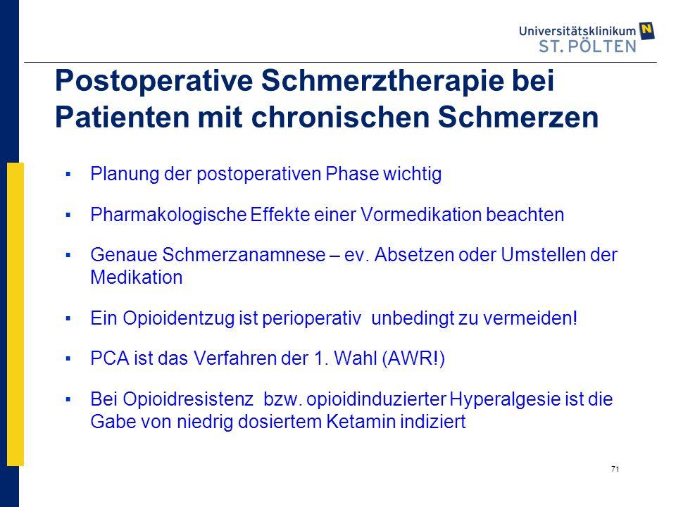 71 Postoperative Schmerztherapie bei Patienten mit chronischen Schmerzen ▪Planung der postoperativen Phase wichtig ▪Pharmakologische Effekte einer Vor