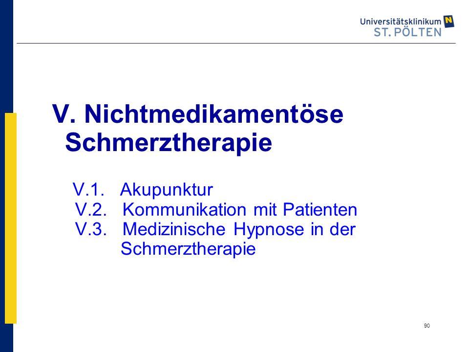 90 V. Nichtmedikamentöse Schmerztherapie V.1. Akupunktur V.2. Kommunikation mit Patienten V.3. Medizinische Hypnose in der Schmerztherapie