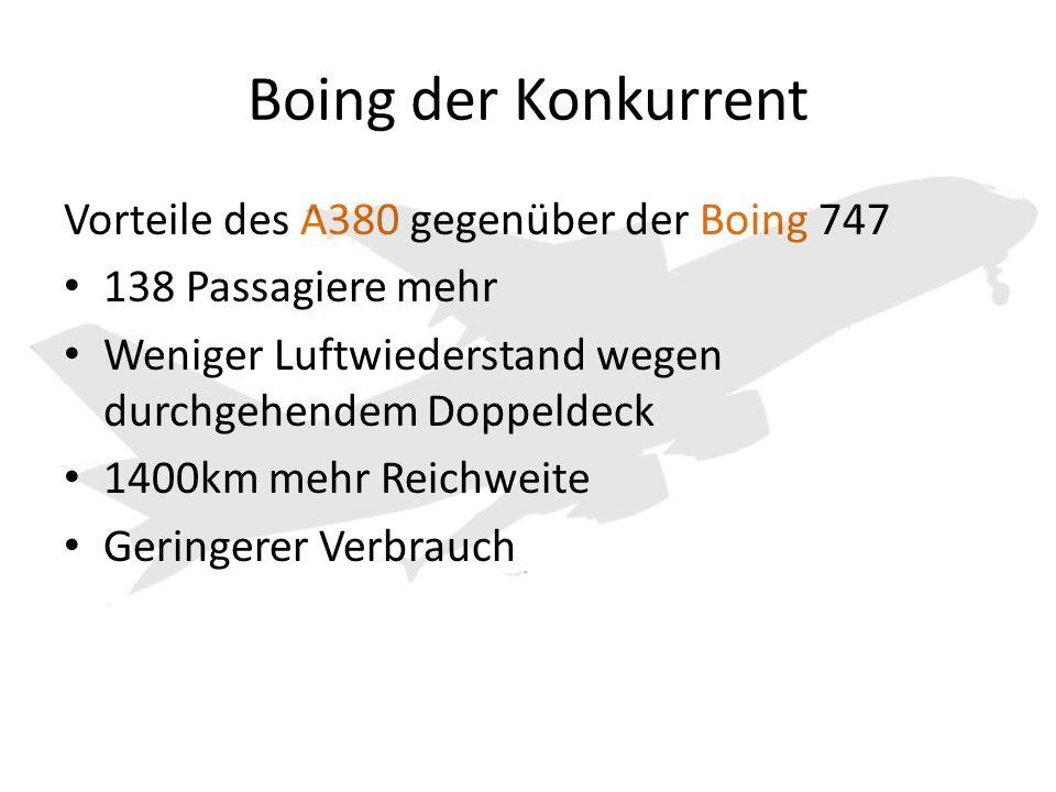 Boing der Konkurrent Vorteile des A380 gegenüber der Boing 747 138 Passagiere mehr Weniger Luftwiederstand wegen durchgehendem Doppeldeck 1400km mehr