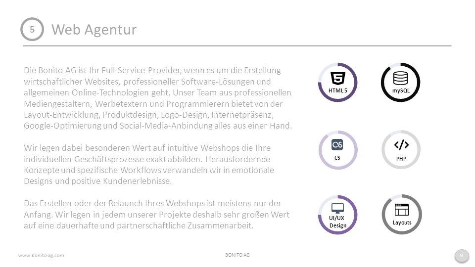 Web Agentur BONITO AG www.bonito-ag.com 9 5 Die Bonito AG ist Ihr Full-Service-Provider, wenn es um die Erstellung wirtschaftlicher Websites, professioneller Software-Lösungen und allgemeinen Online-Technologien geht.