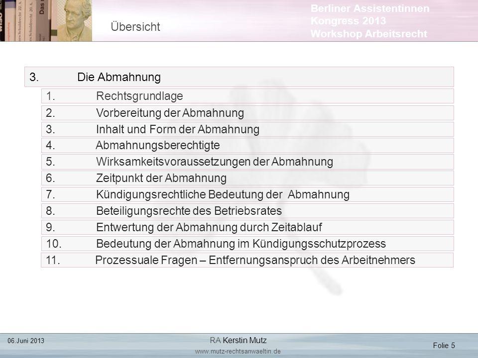 Berliner Assistentinnen Kongress 2013 Workshop Arbeitsrecht 3.Die Abmahnung 1. Rechtsgrundlage Übersicht Folie 5 2. Vorbereitung der Abmahnung 3. Inha