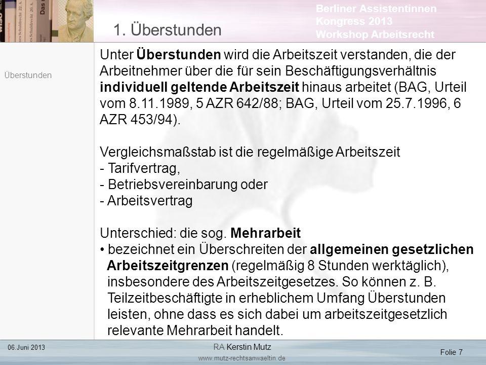 Berliner Assistentinnen Kongress 2013 Workshop Arbeitsrecht 3.