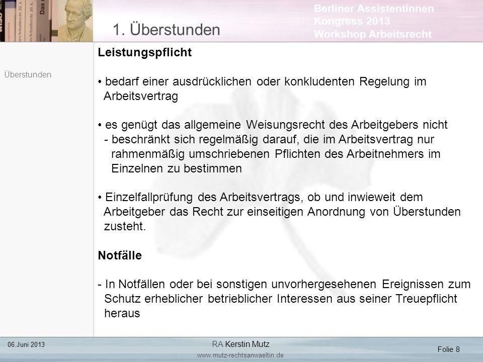 Berliner Assistentinnen Kongress 2013 Workshop Arbeitsrecht 2.