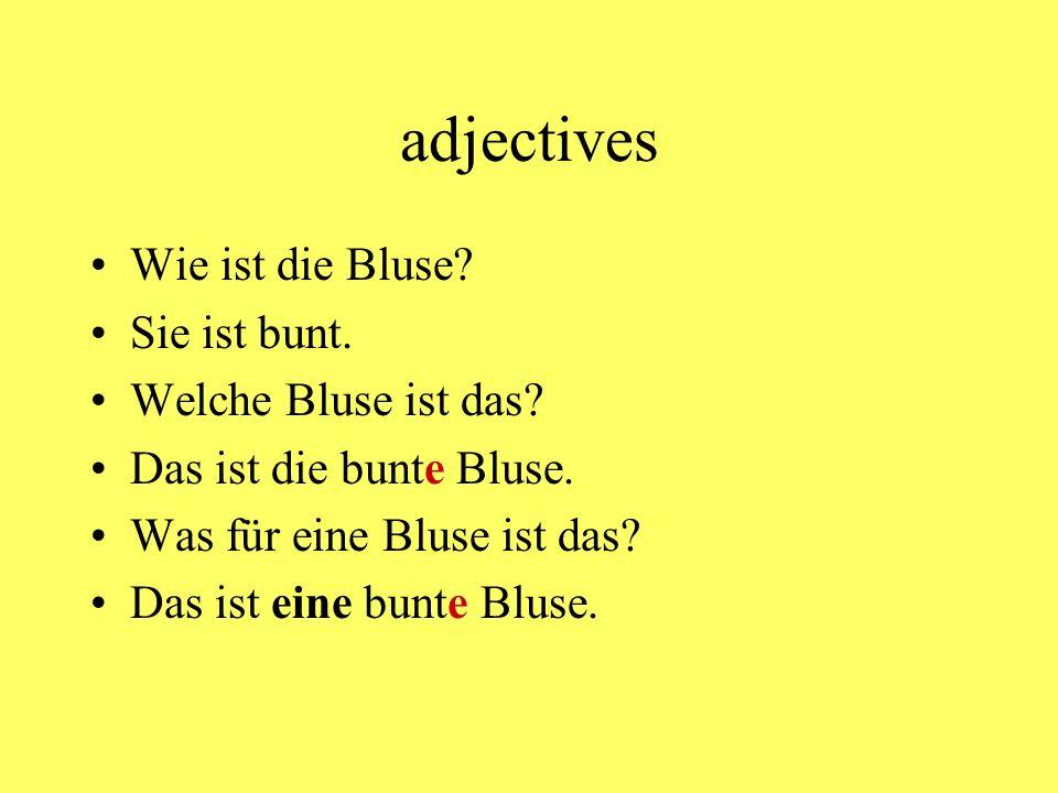 adjectives Wie ist die Bluse.Sie ist bunt. Welche Bluse ist das.