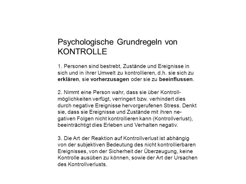 Psychologische Grundregeln von KONTROLLE 1.
