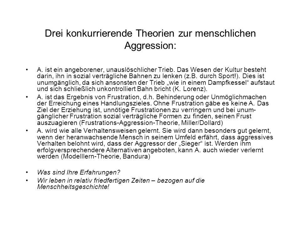 Drei konkurrierende Theorien zur menschlichen Aggression: A.