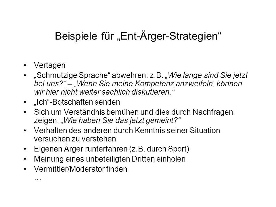"""Beispiele für """"Ent-Ärger-Strategien Vertagen """"Schmutzige Sprache abwehren: z.B."""