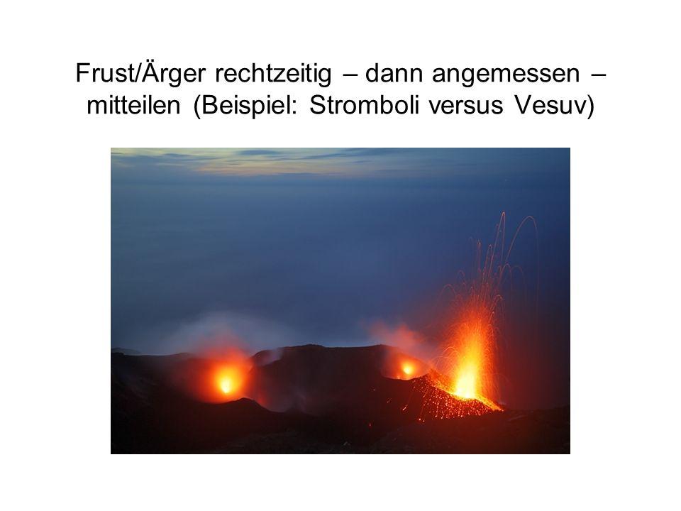Frust/Ärger rechtzeitig – dann angemessen – mitteilen (Beispiel: Stromboli versus Vesuv)