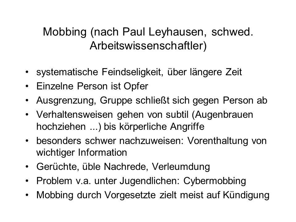 Mobbing (nach Paul Leyhausen, schwed.