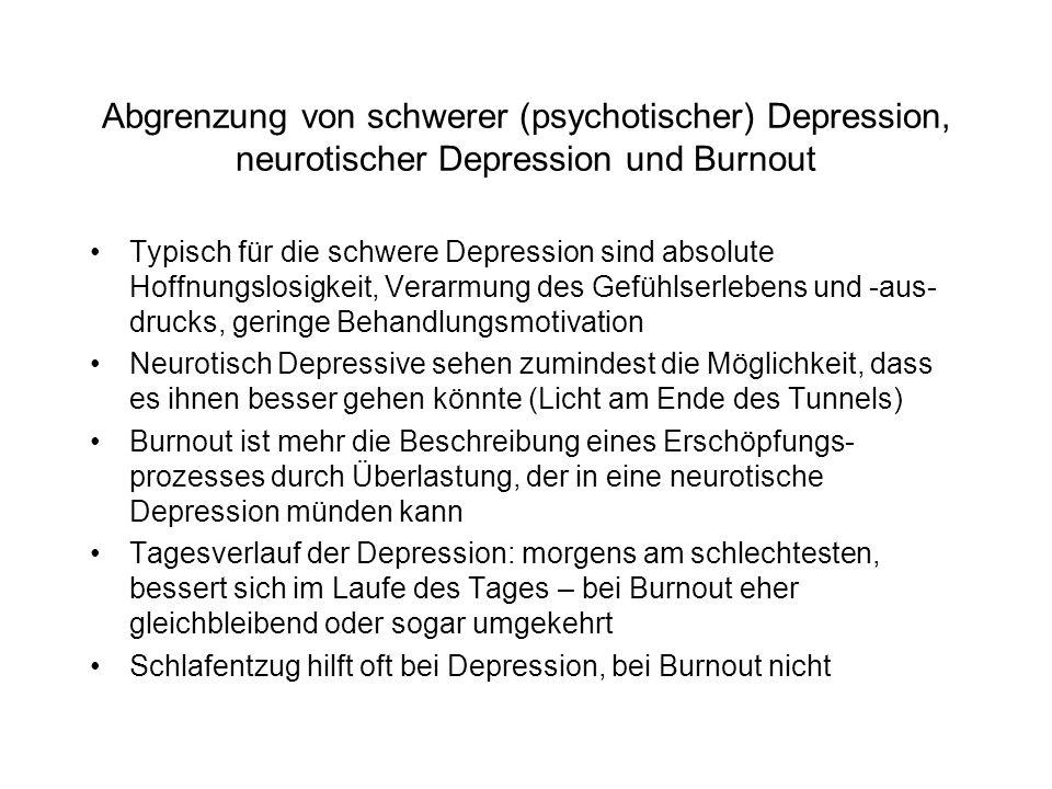 Abgrenzung von schwerer (psychotischer) Depression, neurotischer Depression und Burnout Typisch für die schwere Depression sind absolute Hoffnungslosigkeit, Verarmung des Gefühlserlebens und -aus- drucks, geringe Behandlungsmotivation Neurotisch Depressive sehen zumindest die Möglichkeit, dass es ihnen besser gehen könnte (Licht am Ende des Tunnels) Burnout ist mehr die Beschreibung eines Erschöpfungs- prozesses durch Überlastung, der in eine neurotische Depression münden kann Tagesverlauf der Depression: morgens am schlechtesten, bessert sich im Laufe des Tages – bei Burnout eher gleichbleibend oder sogar umgekehrt Schlafentzug hilft oft bei Depression, bei Burnout nicht