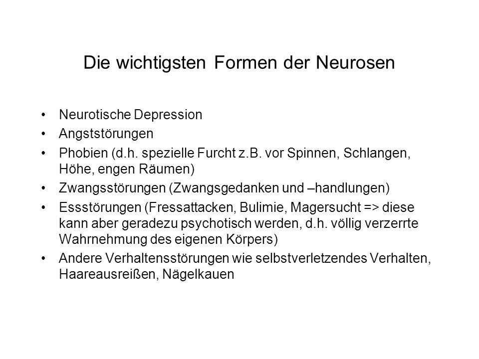 Die wichtigsten Formen der Neurosen Neurotische Depression Angststörungen Phobien (d.h.