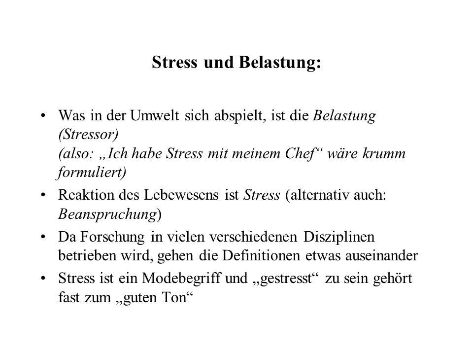 """Stress und Belastung: Was in der Umwelt sich abspielt, ist die Belastung (Stressor) (also: """"Ich habe Stress mit meinem Chef wäre krumm formuliert) Reaktion des Lebewesens ist Stress (alternativ auch: Beanspruchung) Da Forschung in vielen verschiedenen Disziplinen betrieben wird, gehen die Definitionen etwas auseinander Stress ist ein Modebegriff und """"gestresst zu sein gehört fast zum """"guten Ton"""