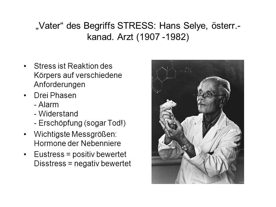 """""""Vater"""" des Begriffs STRESS: Hans Selye, österr.- kanad. Arzt (1907 -1982) Stress ist Reaktion des Körpers auf verschiedene Anforderungen Drei Phasen"""