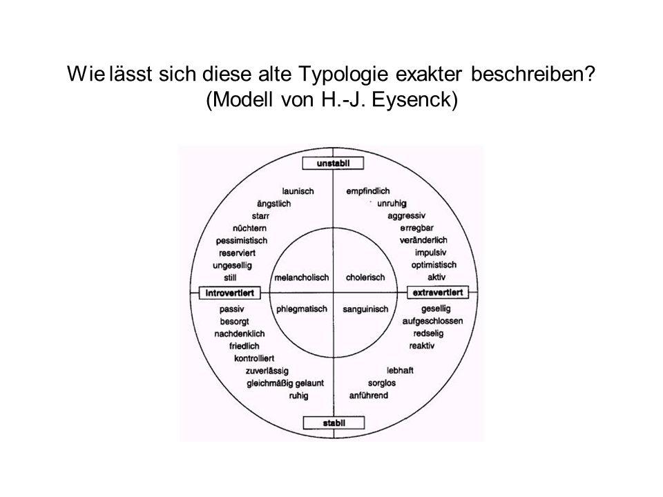 Wie lässt sich diese alte Typologie exakter beschreiben? (Modell von H.-J. Eysenck)