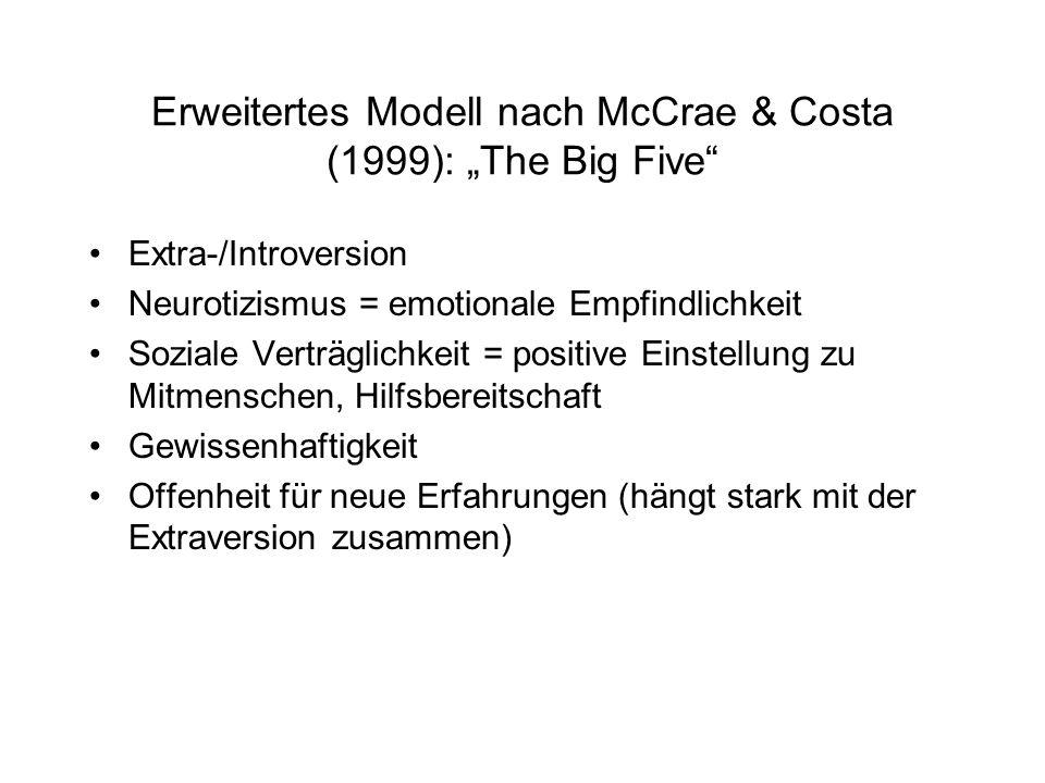 """Erweitertes Modell nach McCrae & Costa (1999): """"The Big Five Extra-/Introversion Neurotizismus = emotionale Empfindlichkeit Soziale Verträglichkeit = positive Einstellung zu Mitmenschen, Hilfsbereitschaft Gewissenhaftigkeit Offenheit für neue Erfahrungen (hängt stark mit der Extraversion zusammen)"""