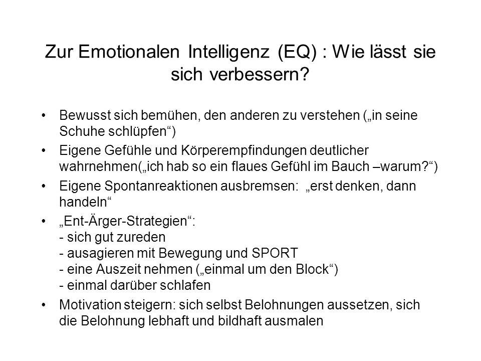 Zur Emotionalen Intelligenz (EQ) : Wie lässt sie sich verbessern.