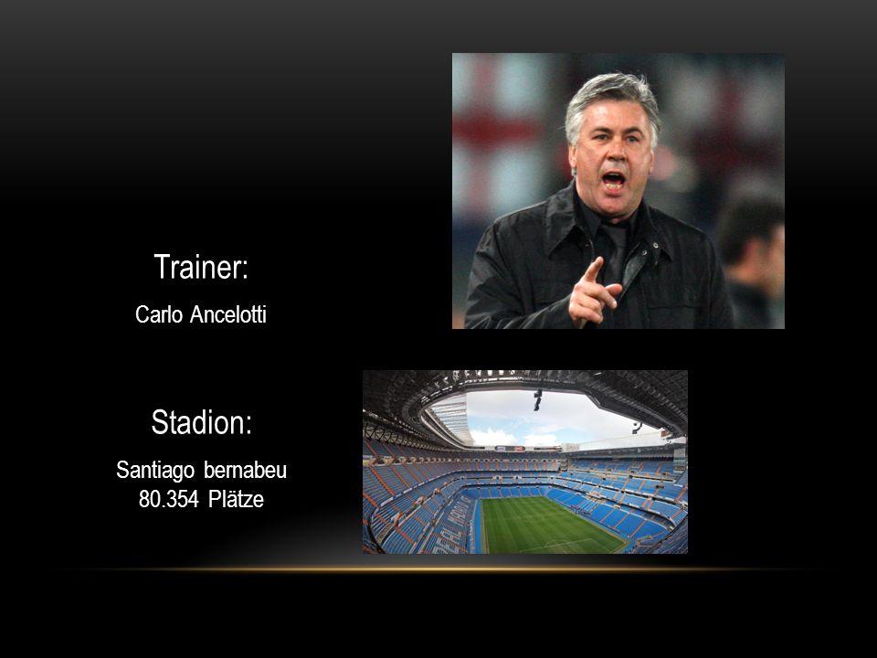 Trainer: Carlo Ancelotti Stadion: Santiago bernabeu 80.354 Plätze