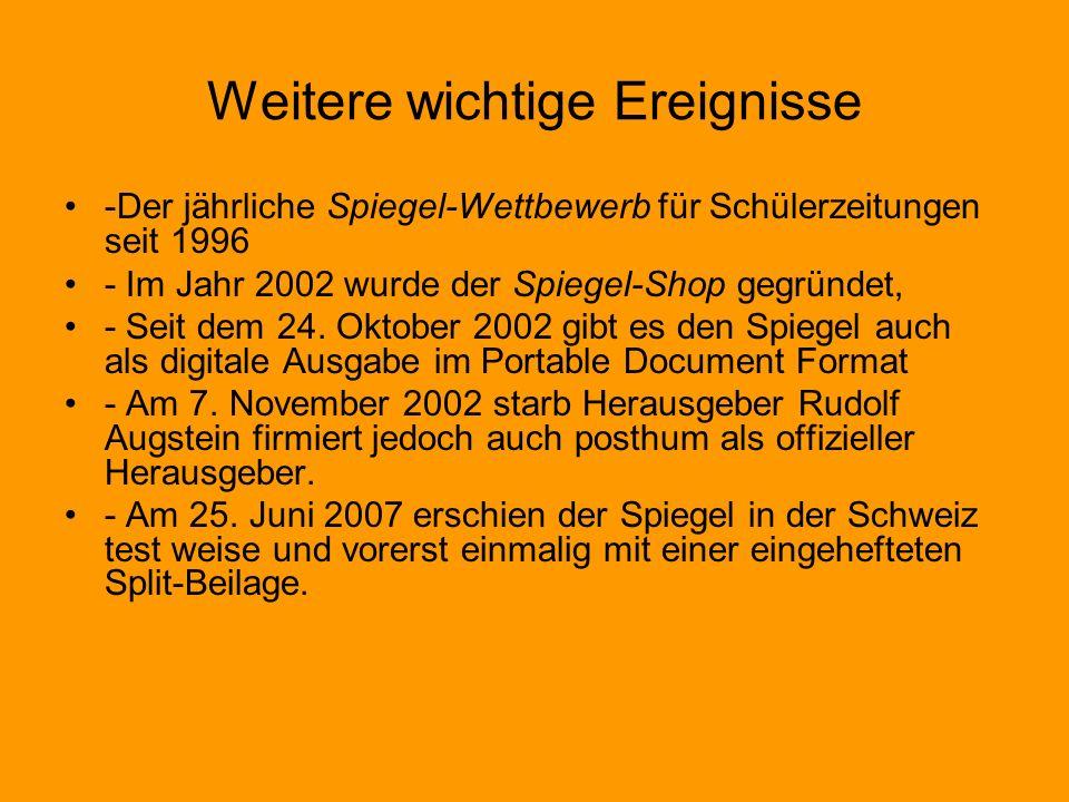 Weitere wichtige Ereignisse -Der jährliche Spiegel-Wettbewerb für Schülerzeitungen seit 1996 - Im Jahr 2002 wurde der Spiegel-Shop gegründet, - Seit dem 24.