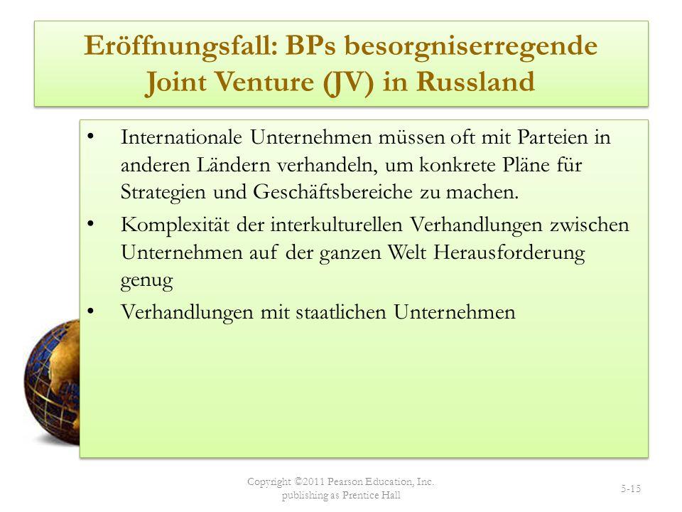 Eröffnungsfall: BPs besorgniserregende Joint Venture (JV) in Russland Internationale Unternehmen müssen oft mit Parteien in anderen Ländern verhandeln