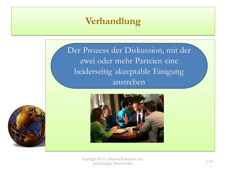 Verhandlung Copyright ©2011 Pearson Education, Inc. publishing as Prentice Hall 5-18 Der Prozess der Diskussion, mit der zwei oder mehr Parteien eine