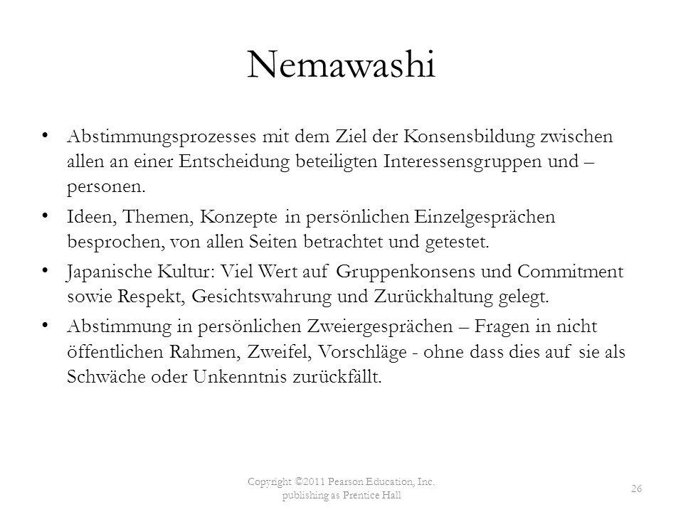 Nemawashi Abstimmungsprozesses mit dem Ziel der Konsensbildung zwischen allen an einer Entscheidung beteiligten Interessensgruppen und – personen. Ide