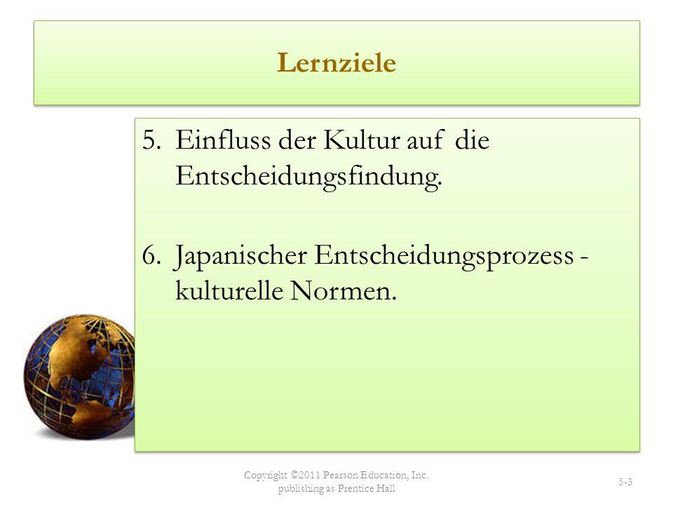 Lernziele 5.Einfluss der Kultur auf die Entscheidungsfindung. 6.Japanischer Entscheidungsprozess - kulturelle Normen. 5.Einfluss der Kultur auf die En