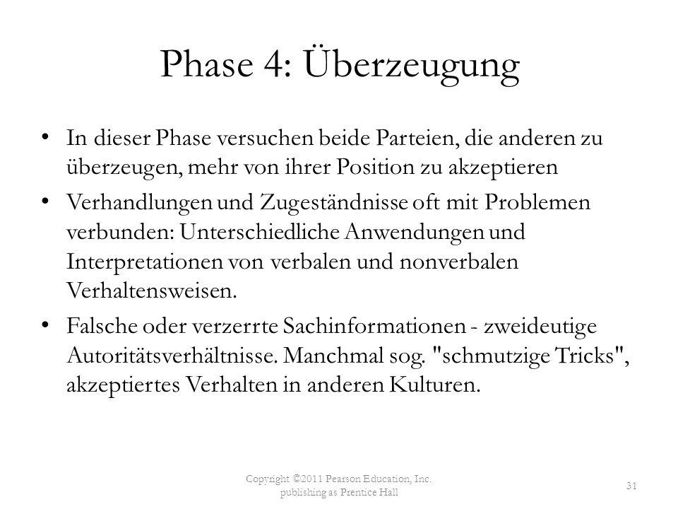Phase 4: Überzeugung In dieser Phase versuchen beide Parteien, die anderen zu überzeugen, mehr von ihrer Position zu akzeptieren Verhandlungen und Zug