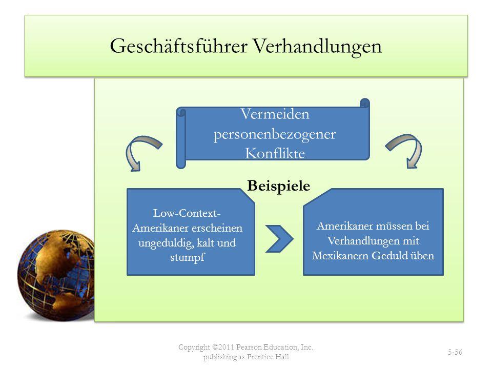 Geschäftsführer Verhandlungen Beispiele Copyright ©2011 Pearson Education, Inc. publishing as Prentice Hall 5-56 Vermeiden personenbezogener Konflikte