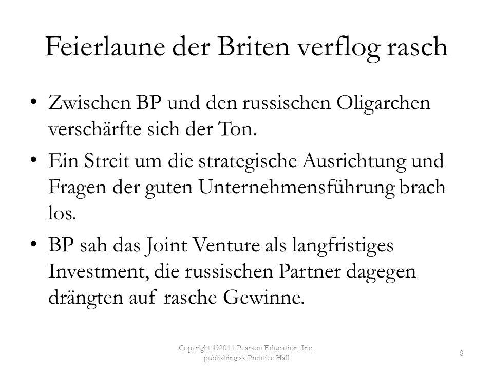 Feierlaune der Briten verflog rasch Zwischen BP und den russischen Oligarchen verschärfte sich der Ton. Ein Streit um die strategische Ausrichtung und
