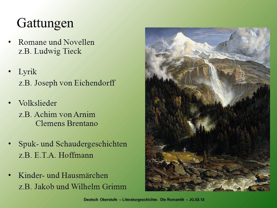 Gattungen Romane und Novellen z.B.Ludwig Tieck Lyrik z.B.