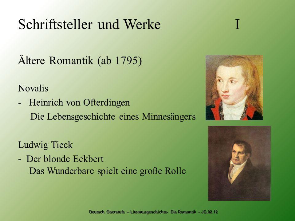 Schriftsteller und Werke I Ältere Romantik (ab 1795) Deutsch Oberstufe – Literaturgeschichte- Die Romantik – JG.02.12 Novalis -Heinrich von Ofterdinge
