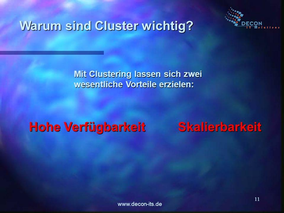 www.decon-its.de 11 Warum sind Cluster wichtig? Mit Clustering lassen sich zwei wesentliche Vorteile erzielen: Hohe Verfügbarkeit Skalierbarkeit