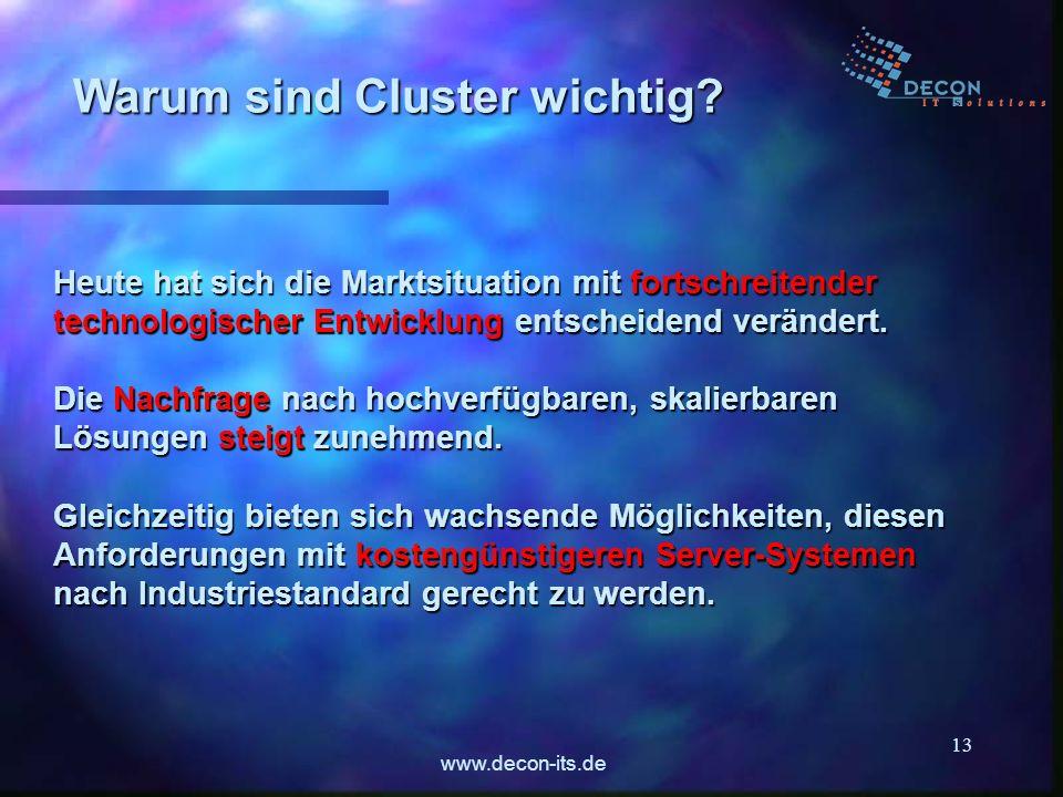 www.decon-its.de 13 Warum sind Cluster wichtig? Heute hat sich die Marktsituation mit fortschreitender technologischer Entwicklung entscheidend veränd