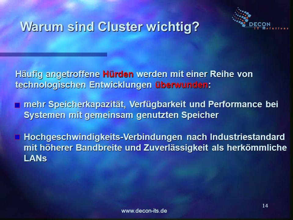 www.decon-its.de 14 Häufig angetroffene Hürden werden mit einer Reihe von technologischen Entwicklungen überwunden: Warum sind Cluster wichtig? Hochge