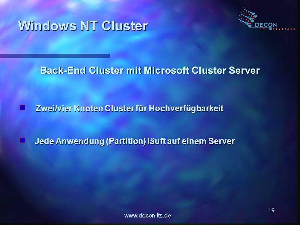 www.decon-its.de 19 Back-End Cluster mit Microsoft Cluster Server Zwei/vier Knoten Cluster für Hochverfügbarkeit Windows NT Cluster Jede Anwendung (Pa